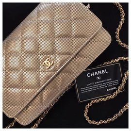 Chanel-Chanel WOC Wallet on Chain Gold Metallic Pixel Effect Bag-Golden
