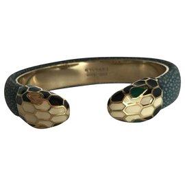 Bulgari-Bracelet manchette ouvert en cuir Bvlgari Serpenti-Multicolore