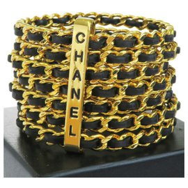 Chanel-Gold Plated Woven Leather 7 Ring Cuff Bangle-Black,Golden