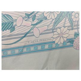 Hermès-Straw games-Pink,White,Light blue