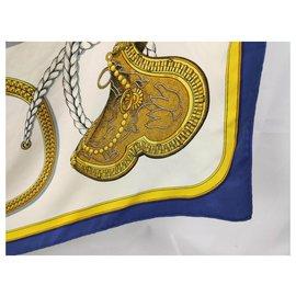 Hermès-big blue pageantry-White,Golden,Navy blue