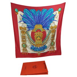 Hermès-Schals-Rot,Golden,Hellblau,Dunkelblau