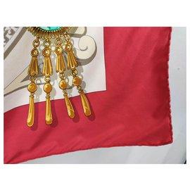 Hermès-Scarves-Red,Golden,Light blue,Dark blue