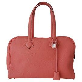 Hermès-SAC HERMES VICTORIA II-Rose,Orange,Corail