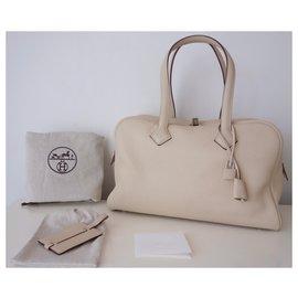 Hermès-HERMES VICTORIA II BAG-Beige,Cream