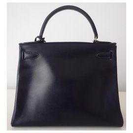Hermès-Hermes Kelly bag 28-Navy blue