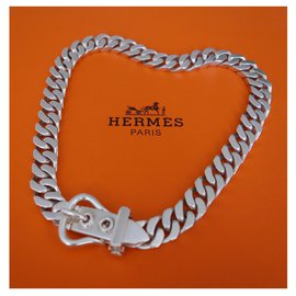 Hermès-HERMES SELLIER NECKLACE-Silvery