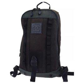 Chanel-Sport Line Backpack-Black,Khaki,Dark green
