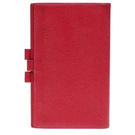 Hermès-Tagebuchhalter aus rotem Bittersleder-Rot