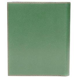 Hermès-Hermès Envelope Clutch aus Krapprot und grünem Courchevel-Leder-Rot,Grün