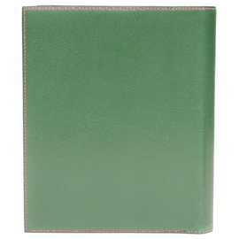 Hermès-Pochette Enveloppe Hermès en cuir courchevel rouge garance et vert-Rouge,Vert