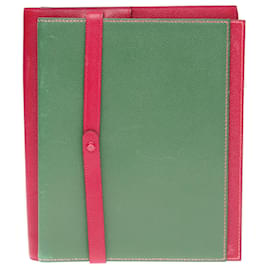 Hermès-Hermès Envelope clutch in madder red and green courchevel leather-Red,Green