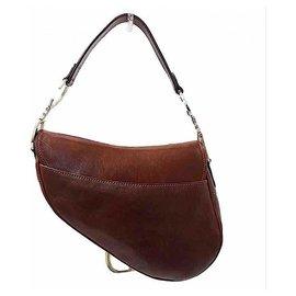 Dior-Rare Brown Leather Flower Embroidery Saddle Shoulder Bag-Marron