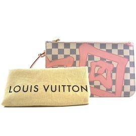 Louis Vuitton-Toile Louis Vuitton Neverfull Pochette XL Tahitienne Rose Damier Azur-Blanc