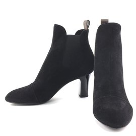 Louis Vuitton-Louis Vuitton Bottines / bottines en daim noir-Noir