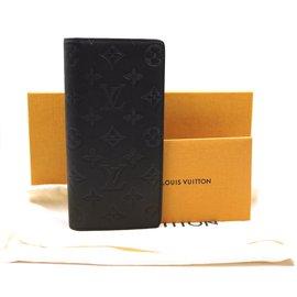 Louis Vuitton-Louis Vuitton Black Shadow Leather Brazza Long Bifold Wallet-Black