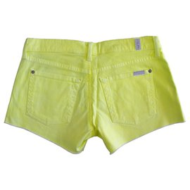 7 For All Mankind-7 For All Mankind Cut off Colored Denim Jeans Shorts size 28 in yellow!-Yellow
