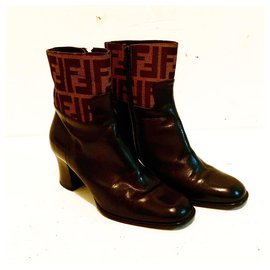 Fendi-Vintage Zucca FF & Leather Ankle Boots-Brown,Black