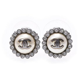 Chanel-Chanel Round Earrings-Silvery