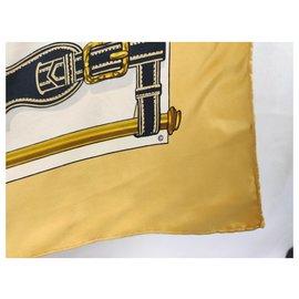 Hermès-presidents harness, rare!-White,Yellow,Bronze