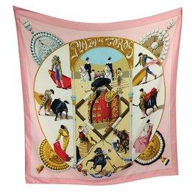 Hermès-Plaza de Toros-Pink,Red,Beige,Golden,Light blue