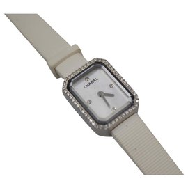 Chanel-Chanel watch in white rubber and diamonds.-White