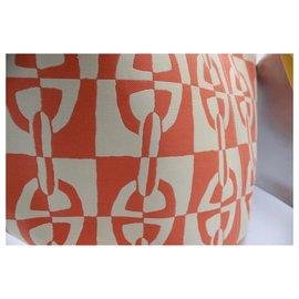 Hermès-Sac cabas de plage Hermes Oange Chaine d'ancre XL-Blanc,Orange,Jaune,Corail
