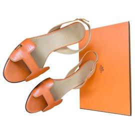 Hermès-Hermès - Night Sandals-Orange