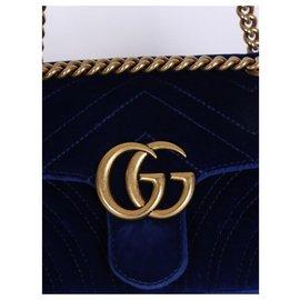 Gucci-marmont velours bleu-Bleu