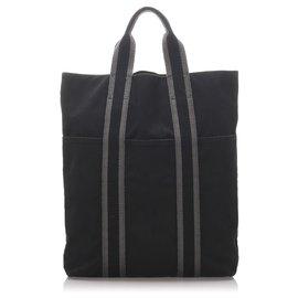 Hermès-Hermes Black Fourre Tout Cabas-Schwarz,Andere,Grau