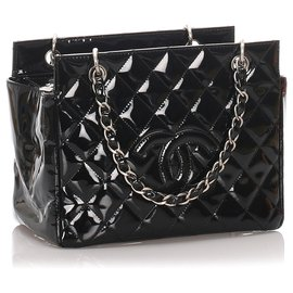 Chanel-Chanel Black Patent Leather Petite Timeless Tote-Black