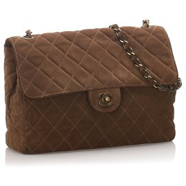 Chanel-Chanel Brown Classic Jumbo Suede Single Flap Bag-Brown,Dark brown