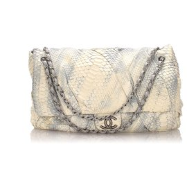 Chanel-Chanel White Jumbo XL Python Twisted Flap Tasche-Weiß,Blau