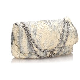 Chanel-Chanel White Jumbo XL Python Twisted Flap Bag-White,Blue