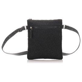 Fendi-Fendi Black Wool Shoulder Bag-Black