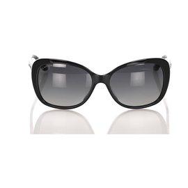 Bulgari-Bvlgari - Lunettes de soleil teintées oeil de chat noir-Noir,Doré