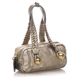 Chloé-Chloe Gold Leather Heloise Shoulder Bag-Golden