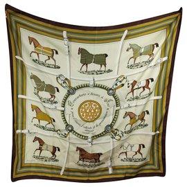 Hermès-Decken und Tageskleidung-Braun,Weiß,Golden,Khaki,Bronze