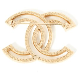 Chanel-strass dourados cc grandes-Dourado