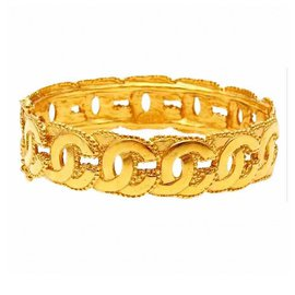 Chanel-Vintage 24K Gold Plated CC Hinged Bangle-Golden