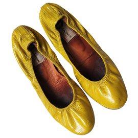 Lanvin-Ballerinas aus Chartreuse-Leder-Grün