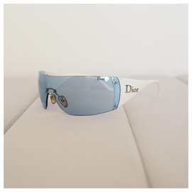 Dior-Des lunettes de soleil-Blanc,Bleu clair