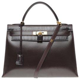 Hermès-Magnifique Hermès Kelly 32 en cuir box marron customisé avec crocodile porosus marron, garniture en métal plaqué or-Marron