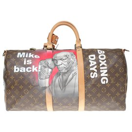 "Louis Vuitton-Louis Vuitton Keepall Travel Bag 50 shoulder strap in custom monogram canvas ""Mike Tyson Vs Mickey"" numbered #64 by PatBo-Brown"