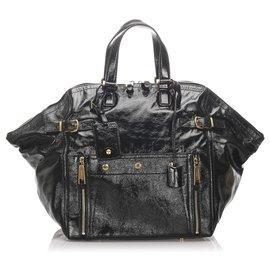 Yves Saint Laurent-YSL Black Patent Leather Downtown Tote Bag-Black