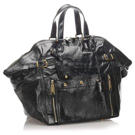 Yves Saint Laurent-YSL Schwarz Lackleder Downtown Tote Bag-Schwarz