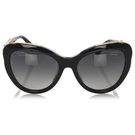 Chanel-Chanel Lunettes de soleil teintées noires Bijou Cat Eye-Noir,Doré