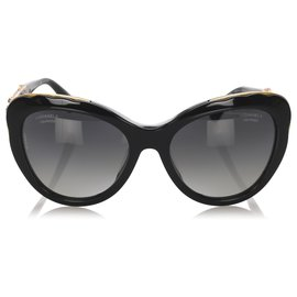 Chanel-Chanel Black Bijou Cat Eye getönte Sonnenbrille-Schwarz,Golden