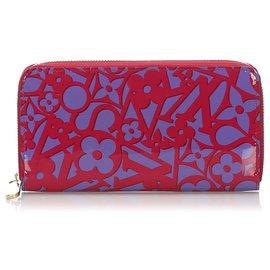 Louis Vuitton-Portefeuille Zippy Louis Vuitton Red Vernis Sweet Monogram-Rouge,Violet