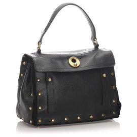 Yves Saint Laurent-YSL Black Leather Muse Two Handtasche-Schwarz